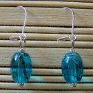 aqua speckled oval dangle earrings