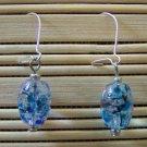 clear speckled oval dangle earrings