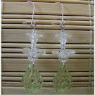 clear floral and leaf dangle earrings