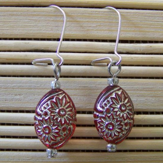 red flower oval dangle earrings