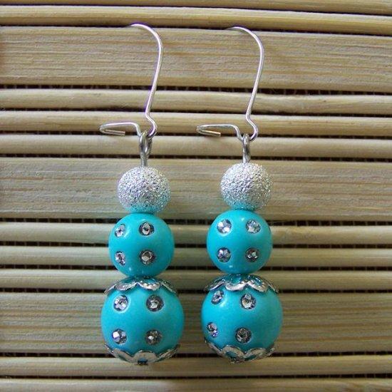 turquoise stacked studded dangle earrings