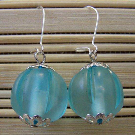 turquoise sheer round dangle earrings