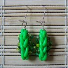 mixed green clay braid dangle earrings