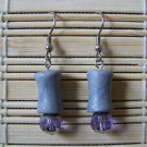 silver clay column with lilac dangle earrings