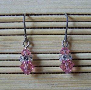 simple light rose with crystal Swarovski dangle earrings