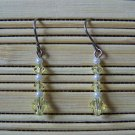 jonquil and pearl Swarovski dangle earrings