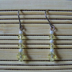 jonquil and pearl Swarovski dangle earrings