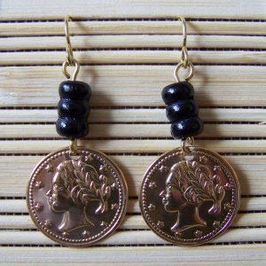 single gold coin with stacked wood dangle earrings