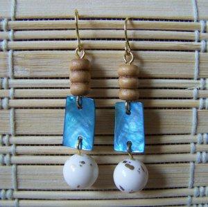 white, blue and brown triple dangle earrings