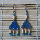blue triangle mother of pearl chandelier dangle earrings
