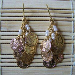 Tiered chandelier coins dangle earrings