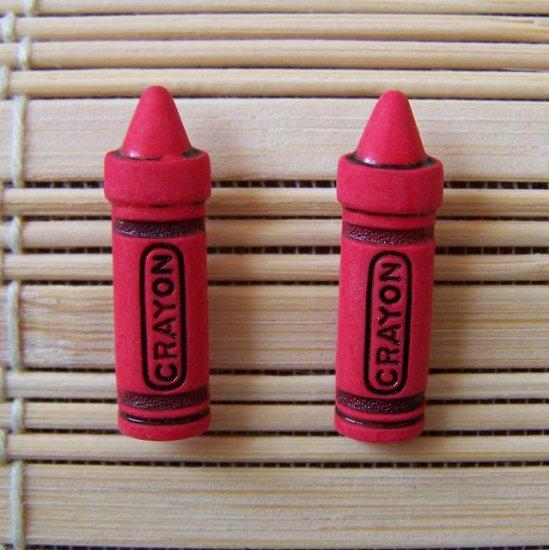 red crayon stud earrings
