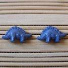 blue stegosaurus stud earrings
