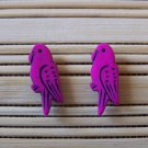 fuschia parrot stud earrings