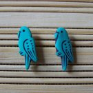 aqua parrot stud earrings