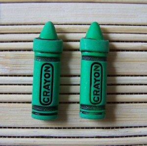 green crayon stud earrings