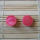 bright pink circle stud earrings