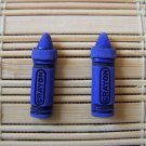 blue crayon stud earrings
