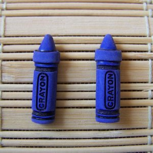 blue crayon stud earrings