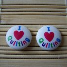 I heart quilting stud earrings