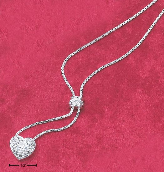 STERLING SILVER NECKLACE- 18 INCH CZ HEART DANGLE