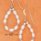 STERLING SILVER- WHITE FRESH WATER PEARL & ROSE QUARTZ LOOP EARRINGS