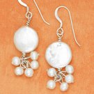 STERLING SILVER- WHITE COIN PEARL DANGLE EARRINGS