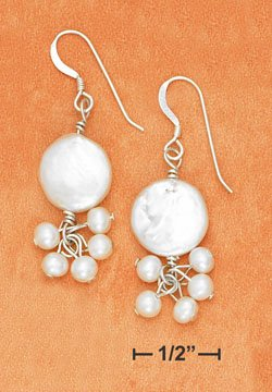 STERLING SILVER- WHITE COIN PEARL DANGLE EARRINGS