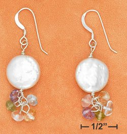 STERLING SILVER- WHITE COIN PEARL EARRINGS W/ MULTI GEMSTONE DANGLE