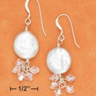 STERLING SILVER- WHITE COIN PEARL EARRINGS WITH CRYSTAL DANGLE
