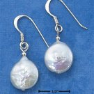 STERLING SILVER- FLAT FRESH WATER WHITE PEARL DANGLE EARRINGS **FREE SHIPPING ITEM**