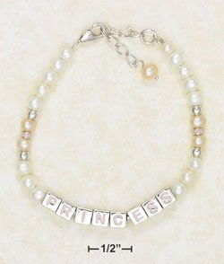 """STERLING SILVER- CHILD'S PEARL & """"PRINCESS"""" BLOCK BRACELET WITH PEARL DANGLE"""