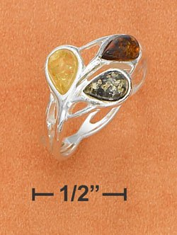 STERLING SILVER- MUTLI COLOR AMBER TEARDROP RING **FREE SHIPPING ITEM**