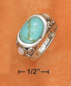 STERLING SILVER OVAL TURQUOISE RING WITH PINK SHELL ACCENTS