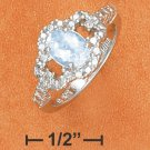 STERLING SILVER BLUE TOPAZ RING WITH CZ SIDE STONES **FREE SHIPPING**