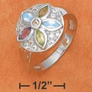 STERLING SILVER- LARGE FLOWER RING WITH AMETHYST, PERIDOT AND CITRINE GEMSTONES
