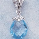 STERLING SILVER- FANCY PEAR SHAPED BLUE TOPAZ BRIOLETTE PENDANT **FREE SHIPPING ITEM**