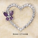 STERLING SILVER- OPEN HEART AMETHYST  BUTTERFLY PENDANT WITH DIAMOND ACCENTS **FREE SHIPPING ITEM**