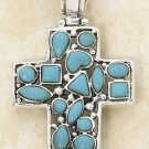 STERLING SILVER- TURQUOISE MOSAIC STONES ON HINGED CROSS PENDANT