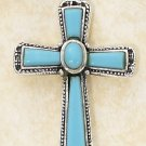 "STERLING SILVER- FIVE STONE TURQUOISE CROSS PENDANT ""OUT OF STOCK! CHECK BACK SOON!!"""