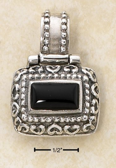 STERLING SILVER ORNATE BOX HINGED PENDANT W/ RAISED RECTANGULAR ONYX STONE **FREE SHIPPING ITEM**