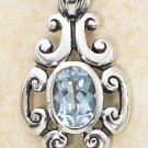 STERLING SILVER SCROLL DESIGN W/ OVAL BLUE TOPAZ STONE PENDANT