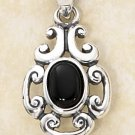STERLING SILVER SCROLLED DESIGN W/ OVAL ONYX STONE PENDANT