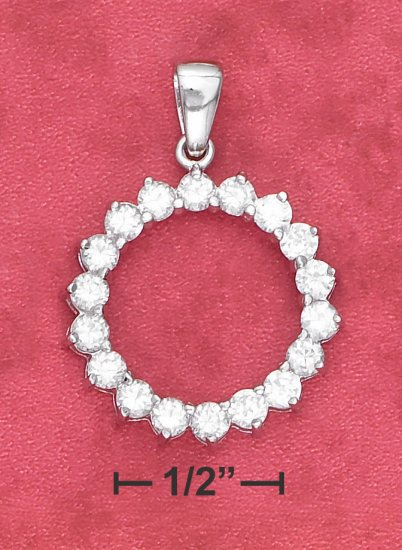 STERLING SILVER OPEN ROUND CLEAR CZ PRONG SET PENDANT