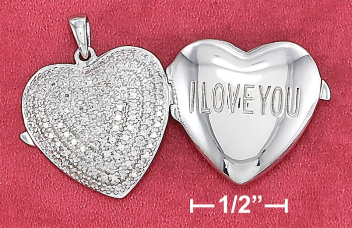 "STERLING SILVER  20MM ""I LOVE YOU"" LOCKET W/ ILLUSION SET BACK & DIAMOND CHIPS"