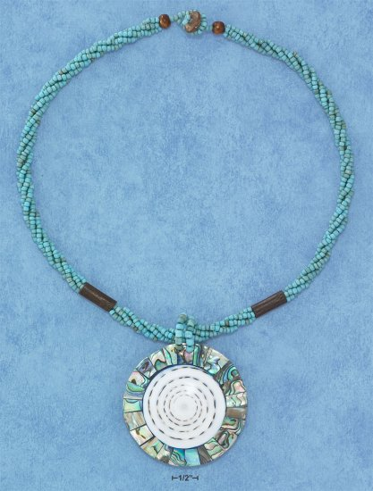 "STERLING SILVER 18"" NECKLACE WITH GREEN BEADS, WOOD BEADS, AND SHELL PENDANT. **FREE SHIPPING ITEM**"