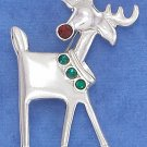 STERLING SILVER REINDEER PIN W/ RED & GREEN SYNTHETIC CRYSTALS