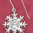 STERLING SILVER CLEAR CZ SNOWFLAKE FRENCH WIRE EARRINGS