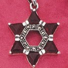STERLING SILVER MARCASITE AND GARNET STAR OF DAVID PENDANT