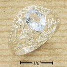 STERLING SILVER- OVAL BLUE TOPAZ RING WITH OPEN FILIGREE DESIGN SHANK